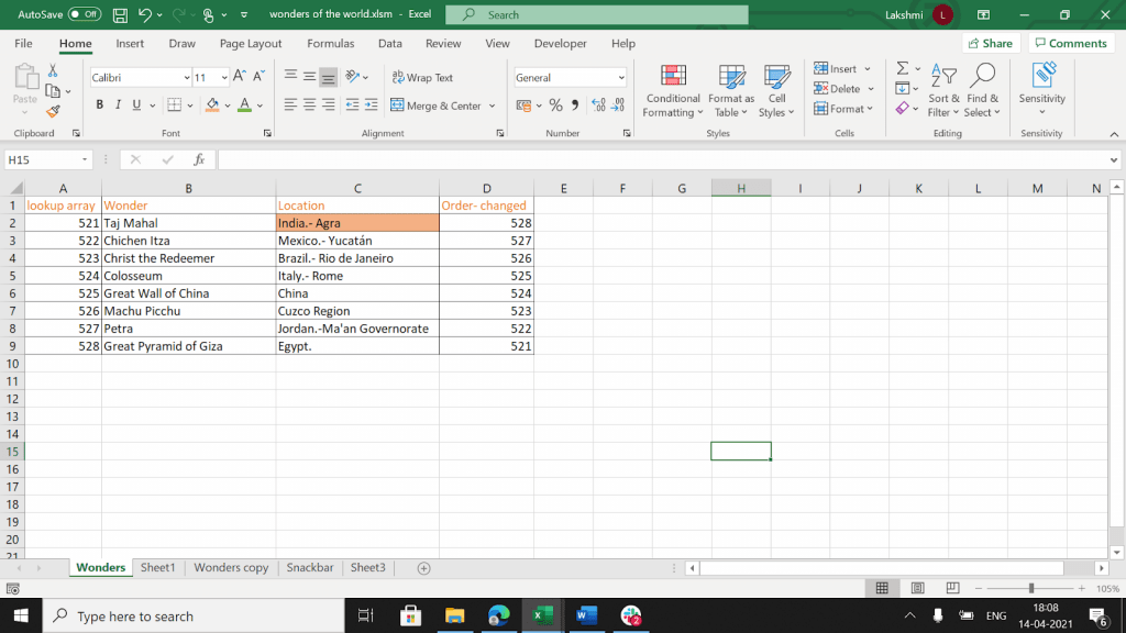 """Excel doc with """"India"""" highlighted in orange."""