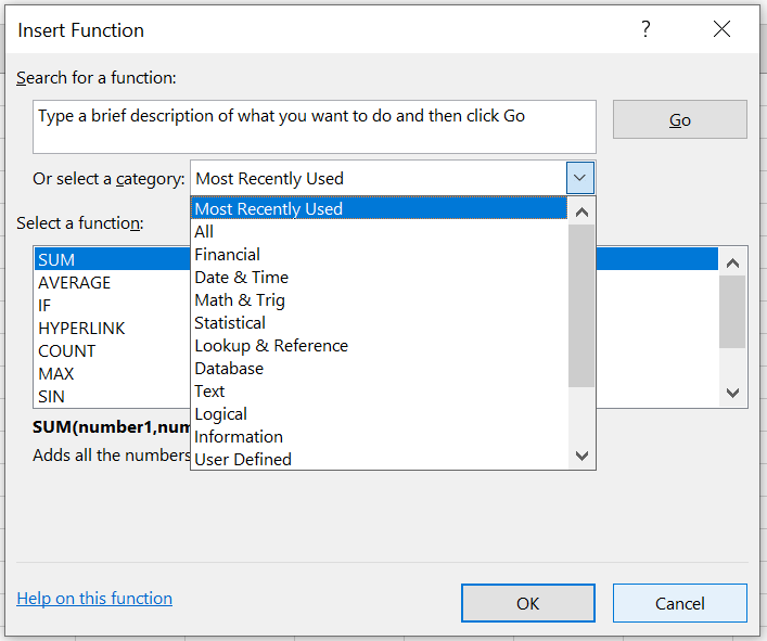 Screenshot of inserting a function in Excel.