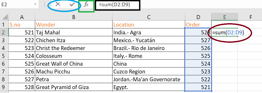 Example of a sum, an Excel formula.