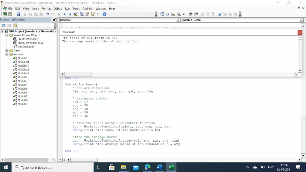 Example of Using Worksheet Function to Find the Sum of Integers in an Array in Excel