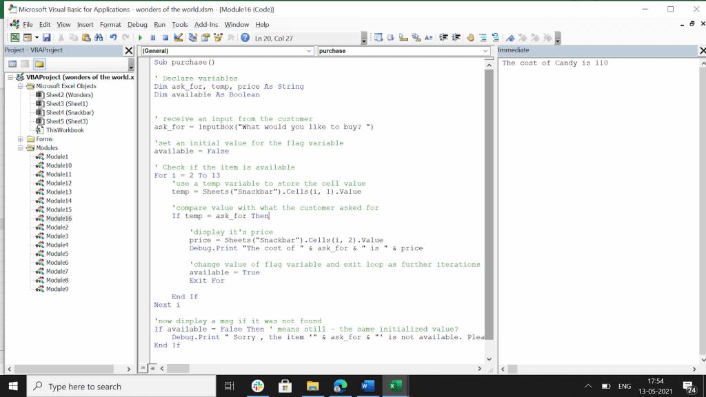 VBA boolean value code.