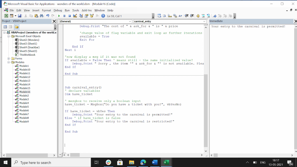 """VBA boolean data type program with the output on the side if we click on the """"Yes"""