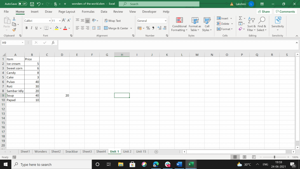 Excel worksheet with some data and borders in it.