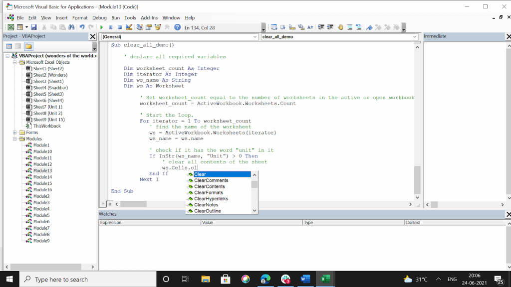 Now we use this VBA code to clear all these in the three sheets.