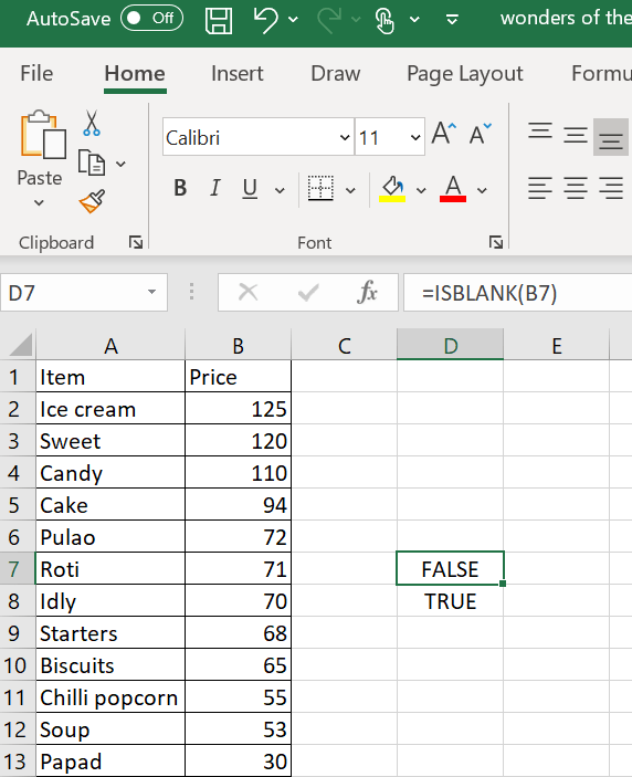 Example of ISBLANK formula in Excel with a FALSE Boolean value.