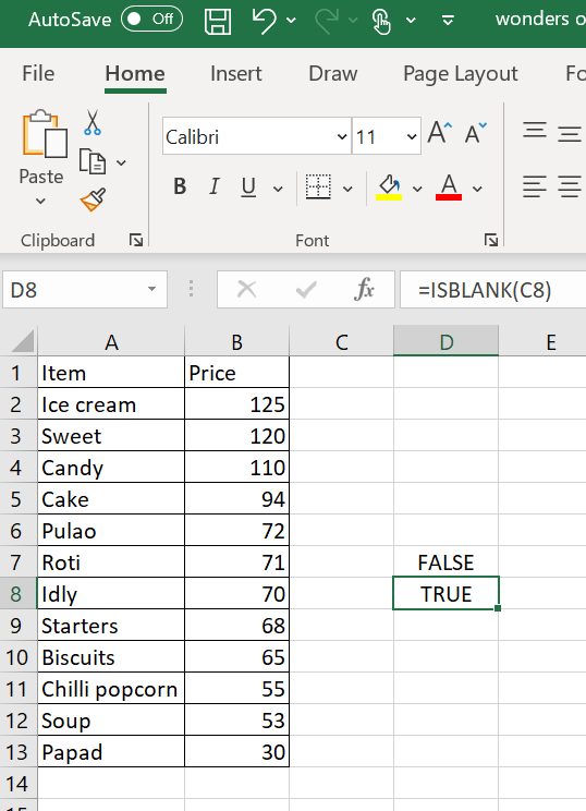 Example of ISBLANK formula in Excel with a TRUE Boolean value.