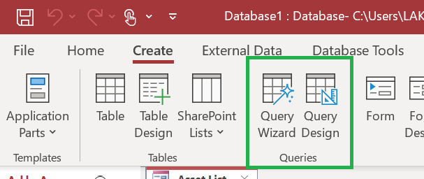Query Wizard and Query Design in Microsoft Access