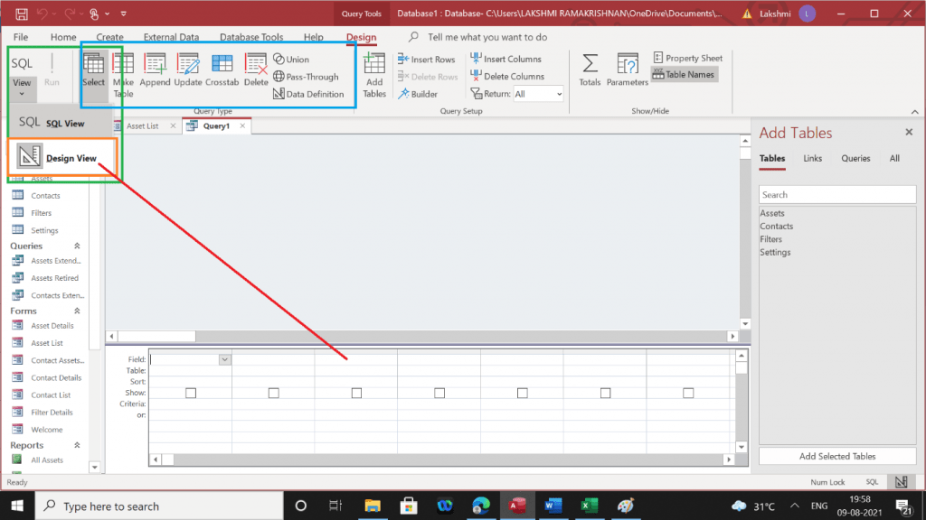 Building a query using design view in Microsoft Access