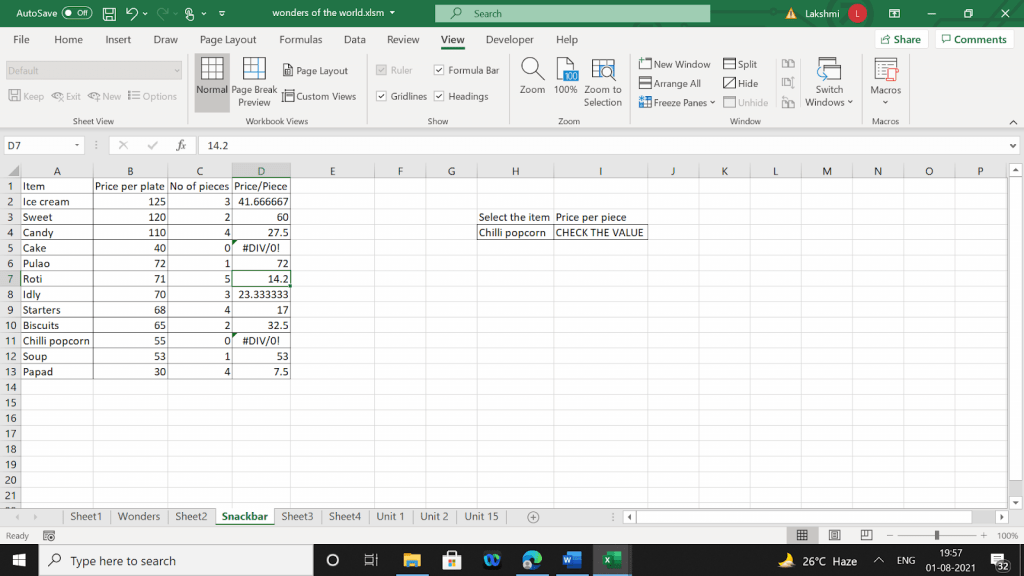 Example 1 of output values for corresponding input values.