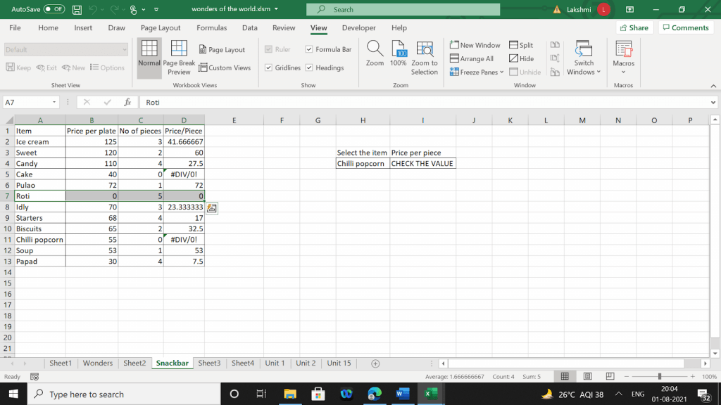Example 2 of output values for corresponding input values.