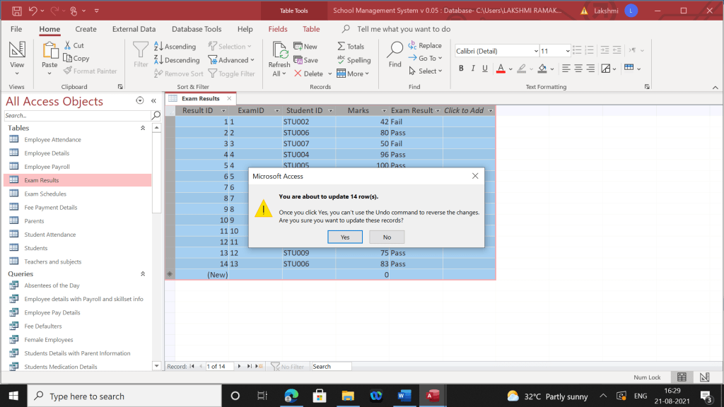 Changes in the table's data after the query is run.