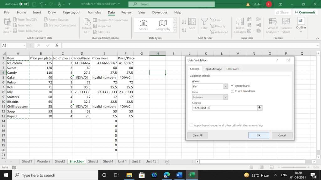 Example of choosing a list and setting the range as the source.