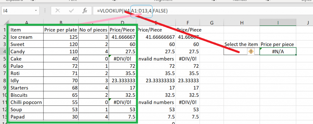 Applying the vlookup formula to get the price of a selected item.
